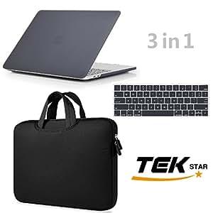 笔记本电脑内胆包13.3英寸 & macbook 保护套带键盘保护套适用于*新 macbook pro 15英寸型号 a1706/ a1708带 Touch Bar . . . 黑色