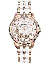 RUNOSD 斯诺威登 瑞士品牌 全自动机械手表 女士腕表 施华洛世奇水晶18K金珍珠陶瓷手表 8200L玫瑰金白面