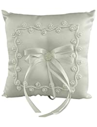 Firefly Imports Wedding Ring Bearer Pillow, 7-Inch, Pearl Flowers, White