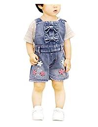 Sitmptol 小女孩棉质牛仔布工装短裤 Bib 闪亮串珠蝴蝶结连身衣 可爱短裤 连身裤