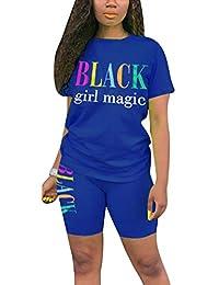 女式彩虹 2 件套 - 休闲短袖 T 恤紧身短裤套装连身裤 (Letter) Royal Blue Large