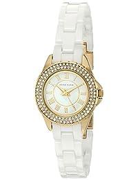 Anne Klein 女士 AK/2204WTGB 施华洛世奇水晶点缀白色陶瓷手链手表