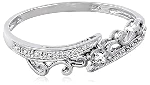 Sterling Silver Bypass Wave Diamond Ring (0.01 cttw, I-J Color, I2-I3 Clarity), Size 7