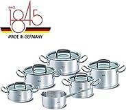 Fissler 菲仕乐 专业正品系列 不锈钢锅具6件套,带玻璃锅盖/锅底感应(3个炒锅,2个煮锅,1个无盖牛奶锅)