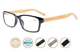 Reduce Eyestrain,抗蓝光,弹簧铰链竹筒镜电脑阅读眼镜 黑色 +3.00