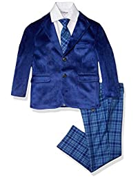 Isaac Mizrahi 男孩天鹅绒撞色套装 4 件套