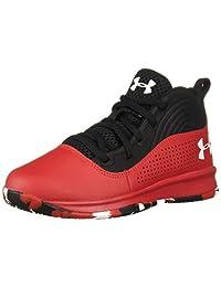 Under Armour 中性款学前锁定4篮球鞋,红色(601)/黑色,13K M 美国小童