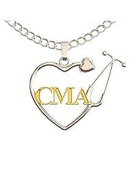 Caring Hands Gifts CMA 项链 - 认证*助理听诊器心形吊坠 - CMA 礼物 - 银和金色
