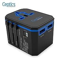 Ceptics 国际电源适配器,世界旅行USB C型 QC 3.0 18W PD插头适配器套件-3个USB端口I型壁式充电器C G A插座110V 220V A / C-5V D / C-欧盟美国英国-多合一