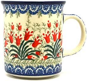 Polish Pottery 咖啡茶杯 283.5 毫升 蓝色、绿色、红色 8盎司 236-1437a