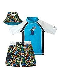 Uv Skinz 男孩 3 件套游泳套装,UPF 50+ *