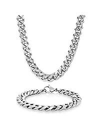 Crucible Jewelry 男士不锈钢锁链手链 21.59 厘米项链 24 英寸套装带钥匙链首饰套装,白色,均码