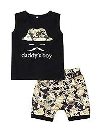 幼童男孩衣服搞笑字母印花无袖背心上衣 + 迷彩短裤夏季婴儿服装