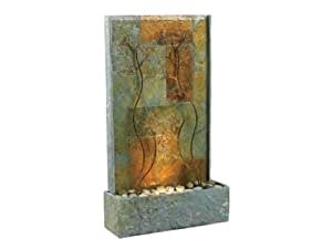Kenroy Home 50379 Two Light Floor Fountain from the Copper Vines Collection, Nat Slate 33 INCH HEIGHT, 19 INCH WIDTH, 6 INCH EXTENSION