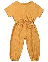 BOIZONTY 女婴褶皱袖下装连身衣幼儿粉色连身衣围兜裤一件套装