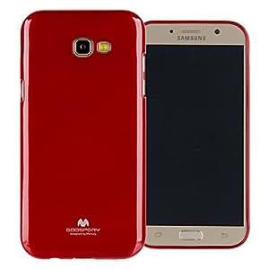 GOOSPERY Marlang Galaxy A7 2017 保护壳,免费屏幕保护膜[贴合] TPU 手机壳[灵活] 珍珠果冻[保护] 三星 Galaxy A7 (2017) 缓冲盖 红色