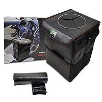 GreenRoad 豪华皮革汽车垃圾桶带盖子带3个侧口袋包括20个一次性塑料衬里ICY冷水收纳袋