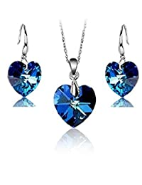 施华洛世奇水晶蓝色心形套装吊坠项链 45.72 cm 钩状耳环 18 ct 镀白金女式