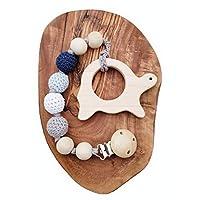 天然木制出牙玩具 可互换安抚奶嘴夹,仿真夹,中性婴儿淋浴礼品