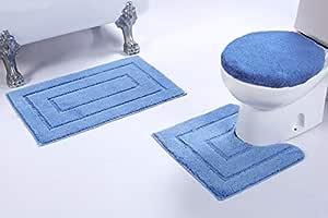 Mk Home 3 件套防滑彩色浴巾 矩形图案浴室带浴室地毯、轮廓垫和盖子套 全新 # 66 浅蓝色 3pc Bath Set