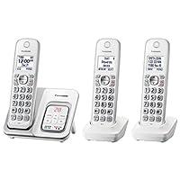 Panasonic 可伸缩无绳电话带电话屏和应答机 3 个手机套 7.90in. x 6.50in. x 5.40in. 白色