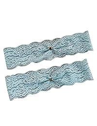 YhdDiy 婚礼吊袜带套装 新娘小心形新娘蕾丝吊袜带纪念品 S22