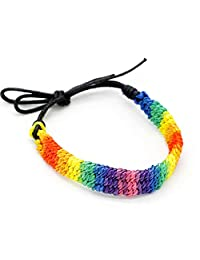 HawaiianCraftier 彩虹 LGBT Pride 编织手镯 编织镀珠宝 骄傲手绳