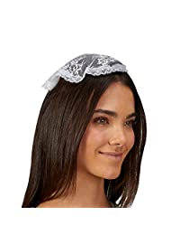 Needzo Chapel Veil Catholic 女式白色帽子发饰,10 英寸