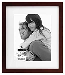 Malden Linear Wood Matted 8x10 Walnut Picture Frame