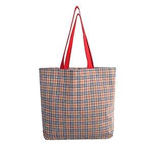 Earthwise 包手提袋时尚购物日常可重复使用的杂货袋美国制造(2 件套) TanPlaid 大