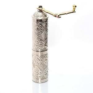土耳其手工铜咖啡盐胡椒研磨机 银色 22cm