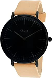 Cluse CL18503 Women's La Boheme Black Dial Black IP Steel Beige Leather Strap Watch