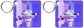 3dRose 20 岁生日,冰淇淋锥形抽象,紫色 - 钥匙链,6.35 x 11.43 厘米,2 件装 (kc_49105_1)