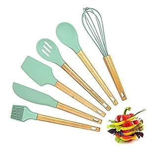 6 件套厨房用具套装 - 山毛榉木和硅胶,适用于家庭/摩托尔/厨房烘焙用具糕点厨房工具/小工具,不粘耐热 l 薄荷色 l