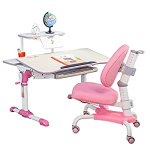 心家宜 手摇同步升降儿童学习桌椅套装 学生书桌 儿童写字桌 95CM高端儿童书桌 公主粉 M101R_M207R (供应商直送)