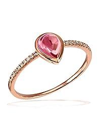 Goldmaid 女式14K ( 585) 红色金 pear 白色粉色碧玺钻石 finering  Rose Gold