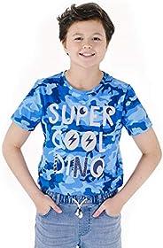 M.D.K 男孩酷炫名言图案印花迷彩图案圆领 T 恤