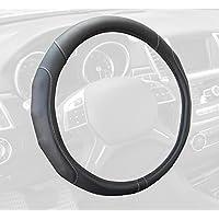 Motor Trend GripDrive 合成皮革汽车方向盘套黑色带米黄色点缀针舒适握把 - 标准 38.1 cm 15英寸 SW-761-GR-M_AM