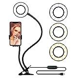 自拍环灯自动手机支架直播流化妆品,OldShark LED 相机照明 360 旋转柔性手臂 YouTube 视频 3 灯模式 10 级亮度 Universal Mount