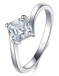 BORUO 925 纯银戒指,方晶锆石婚戒可叠放戒指 3mm 尺寸 4