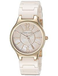 Anne Klein 女士 AK/2182RGLP 闪光玫瑰金色和浅粉色陶瓷手链手表