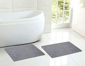 Sheen Decor 月亮石系列:纯棉带状浴室垫   双面豪华触感浴室地毯   超吸水性可机洗淋浴垫 2 件装 - (43.18 x 60.96 厘米) 浅灰色
