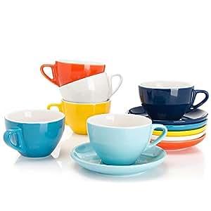 sweese 瓷器卡布奇诺杯带茶托–170.1gram 适用于卡布奇诺茶和咖啡色 COFFEE–6件套 Hot Assorted