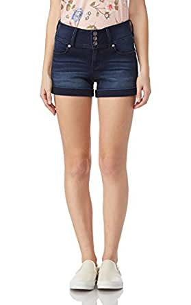 WALLFLOWER 女式青少年3button 高垫 Sassy 聚拢短裤 Shannon 1