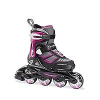 Rollerblade Spitfire XT 女孩可调节健身内嵌滑冰鞋,黑色和紫色,青少年,青年性能内嵌滑冰鞋