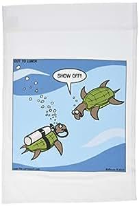 Rich diesslins 有趣通用卡通–海龟潜水显示 OFF 水下–旗帜 12 x 18 inch Garden Flag