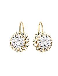 巴西 18K 金色和水晶花朵耳环 施华洛世奇元素制成 白色