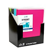 DocIt 8 Pocket Folder Counter Display, Contains 8 Folders, 2 Each of Blue, Green, Pink, and Gray (00908)