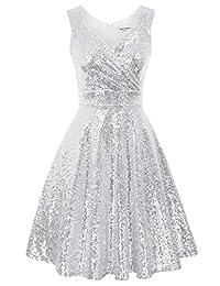GRACE KARIN 無袖閃亮 V 領晚禮服 舞會禮服 尺碼 M 銀色 CL061-7
