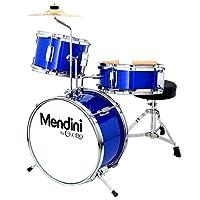 Mendini by Cecilio 13 英寸(约 33 厘米)儿童/少年鼓 3 件套,含宝座、钹、踏板和鼓槌(皇家蓝金属)